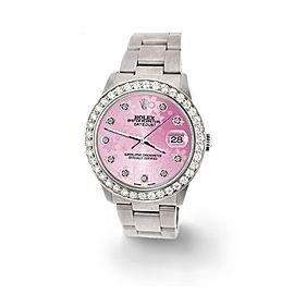 Rolex Datejust Midsize 31mm 1.52ct Bezel/Pink Flower Dial Steel Oyster Watch