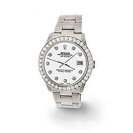 Rolex Datejust Midsize 31mm 1.52ct Bezel/White Jubilee Dial Steel Oyster Watch