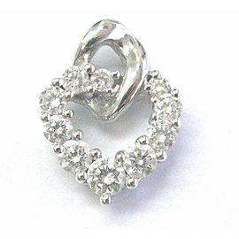 18Kt Round Cut Diamond Shared Prong White Gold Heart Pendant 1.10Ct