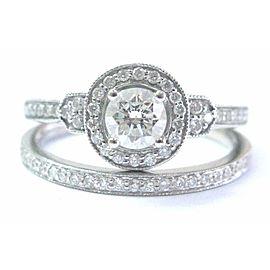 Milgrain Diamond White Gold Engagement Set Solid 14Kt .63Ct SIZEABLE G-VS2