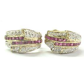 Ruby & Diamond Yellow Gold Huggie Earrings 14Kt 1.00Ct + .42Ct 19mm