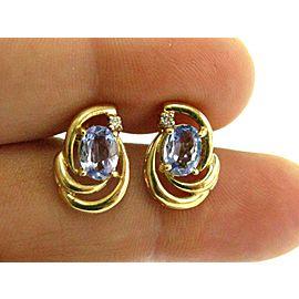 Tanzanite & Diamond Stud Earrings 14KT Yellow Gold 1.02Ct Push Back