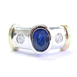 Oval Blue Sapphire & Diamond Three Stone Ring 18Kt Two-Tone Gold 1.76Ct