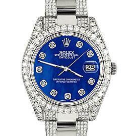 Rolex DatejustII 41mm 10.3CT Diamond Bezel/Case/Bracelet/Royal BlueMOP