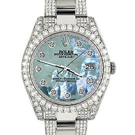 Rolex DatejustII 41mm 10.3CT Diamond Bezel/Case/Bracelet/Tahitian Blue/