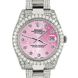 Rolex Datejust II 41mm 10.3CT Diamond Bezel/Case/Bracelet/Pink Flower