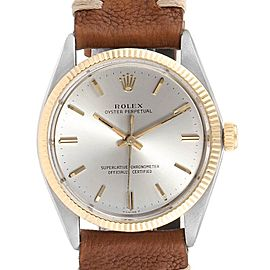 Rolex Oyster Perpetual Steel Yellow Gold Vintage Mens Watch 1005