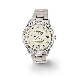 Rolex Datejust Midsize 31mm 1.52ct Bezel/Linen White Diamond Roman VI Dial Watch