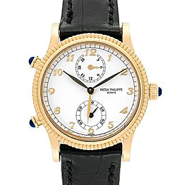 Patek Philippe Calatrava Travel Time Yellow Gold Watch 4864 Papers
