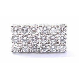 Round Diamond White Gold Square Stud Earrings 18-Stones 14Kt 8.5mm 1.44Ct