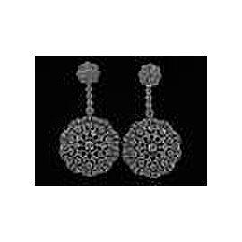 18Kt Milgrain Designer Diamond Drop Earrings White Gold 2.00CT