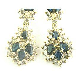 Ceylon Sapphire & Diamond Drop Earrings Solid Yellow Gold Leverback 14Kt 13.85Ct