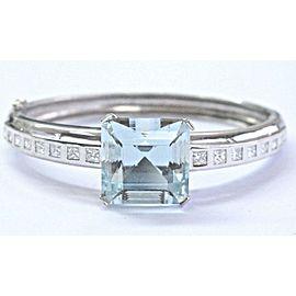 Cushion Aquamarine & Diamond Bangle Solid 18Kt White Gold 23.51Ct+1.87Ct AAA /VS