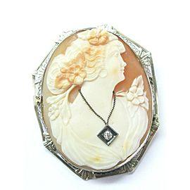 "Fine Vintage Cameo Old European Diamond Pin/Brooch .05Ct 2"""