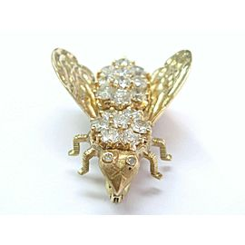 Fine Diamond Bee Pin / Brooch 14KT Yellow Gold 4.00Ct