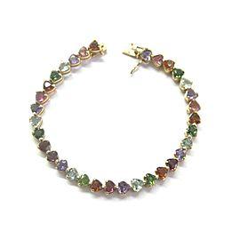 """Heart Shape Multi Color Sapphire Tennis Bracelet 14Kt Yellow Gold 13.50Ct 7"""""""