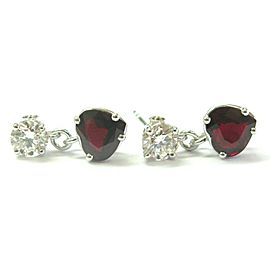 Heart Shape Ruby & Round Diamond White Gold Dangling Earrings 14Kt 4.03Ct F-VS1