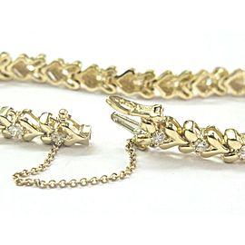 "Round Diamond Yellow Gold Heart Shape Tennis Bracelet 14Kt 2.00Ct 7.5"" F-VS1"