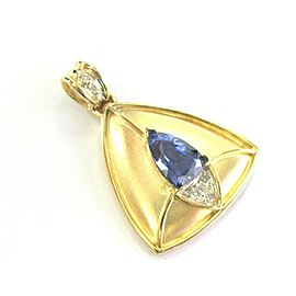 Natural Pear Shape Tanzanite & Diamond Pendant 18kt Yellow Gold 2.94Ct + .15Ct 1