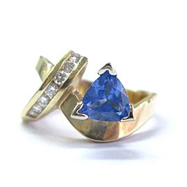Fine Trillion Gem Tanzanite & Diamond Yellow Gold Jewelry Ring 2.21Ct 14KT