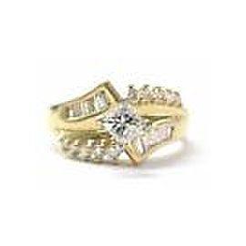 Princess Round & Baguette Diamond Engagement Jewelry Ring Yellow Gold 14KT .77CT