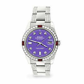Rolex Datejust 36mm 4.5Ct Diamond Bezel/Bracelet/Lavender Dial 116200 Watch