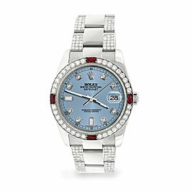 Rolex Datejust 36mm 4.5Ct Diamond Bezel/Bracelet/Ice Blue Dial 116200 Watch