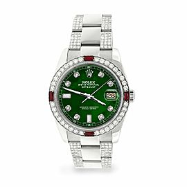 Rolex Datejust 36mm 4.5Ct Diamond Bezel/Bracelet/Forest Green Dial 116200 Watch