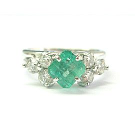 Natural Colombian Green Emerald & Diamond Platinum & White Gold Ring 1.72Ct