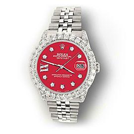 Rolex Datejust 31mm 2.95ct Bezel/Lugs/Scarlet Red Roman IX Star Dial Watch