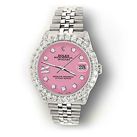 Rolex Datejust 31mm 2.95ct Diamond Bezel/Lugs/Hot Pink Roman IX Star Dial Watch