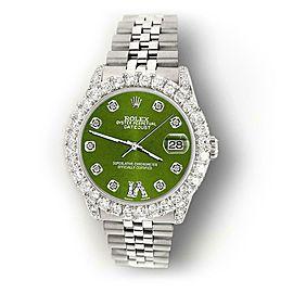 Rolex Datejust 31mm 2.95ct Bezel/Lugs/Royal Green Roman IX Star Dial Watch