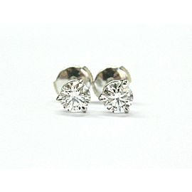 Round Diamond Stud Earrings Three Prong 18Kt White Gold 1.42CT GIA F-VS1
