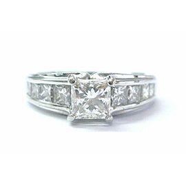 SOLID Platinum NATURAL Princess Cut Diamond Engagement Ring H-VVS2 IGI 2.05Ct