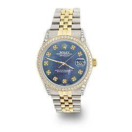 Rolex Datejust 2-Tone 36mm 1.4ct Diamond Bezel/Lugs/Black Pearl Dial Watch