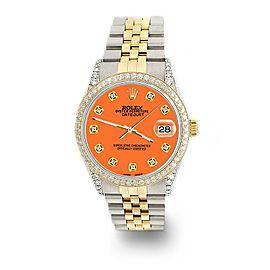 Rolex Datejust 2-Tone 36mm 1.4ct Diamond Bezel/Lugs/Pastel Orange Dial Watch