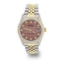 Rolex Datejust 2-Tone 36mm 1.4ct Diamond Bezel/Lugs/Salmon Dial Jubilee Watch