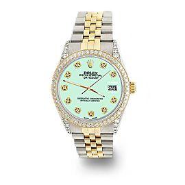 Rolex Datejust 2-Tone 36mm 1.4ct Diamond Bezel/Lugs/Light Malachite Dial Watch