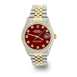 Rolex Datejust 2-Tone 36mm 1.4ct Diamond Bezel/Lugs/Imperial Red Dial Watch