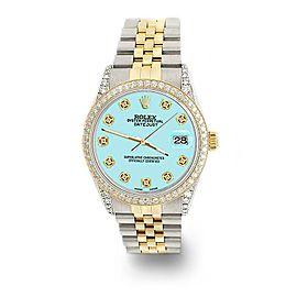Rolex Datejust 2-Tone 36mm 1.4ct Diamond Bezel/Lugs/Aqua Blue Dial Jubilee Watch