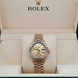 Rolex President Datejust 26mm Diamond Ruby Emerald Bezel/Lugs/Yellow Gold Watch