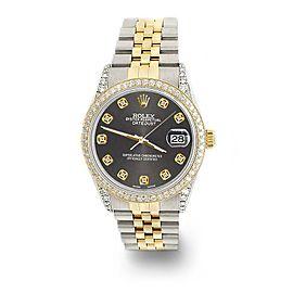 Rolex Datejust 2-Tone 36mm 1.4ct Diamond Bezel/Lugs/Rhodium Grey Dial Watch