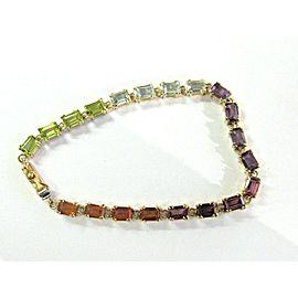 "Multi Gem Tennis Bracelet 14Kt Yellow Gold 11.00Ct 7"""