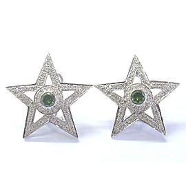 """18Kt Multi Color Diamond White Gold Star Earrings 1 1/4"""" 2.35Ct"""