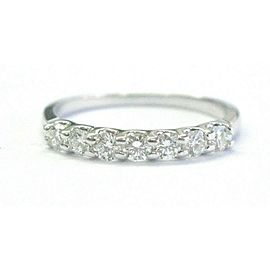 Natural Round Diamond Seven Stone Shared Prong White Gold Band Ring 14KT .45Ct