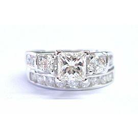 Fine Princess & Round Cut Diamond Engagement White Gold Wedding Set 2.21Ct IGI