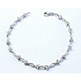 "Natural Round Diamond White Gold Stationary Bracelet 18Kt .50Ct 6.5"" F-VS1"