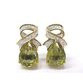 Pear Shape Green Tourmaline & Diamond Yellow Gold Drop Earrings 14KT 6.99Ct F/VS