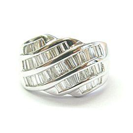 Platinum Natural Baguette Diamond 5-Row Band Ring 1.00Ct PT950