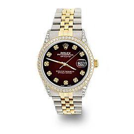 Rolex Datejust 2-Tone 36mm 1.4ct Diamond Bezel/Lugs/Maroon Vignette Dial Watch